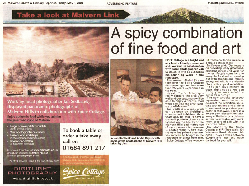 Malvern Gazzete article - Jan's exibition in Spice Cottage restaurantttage exhibition